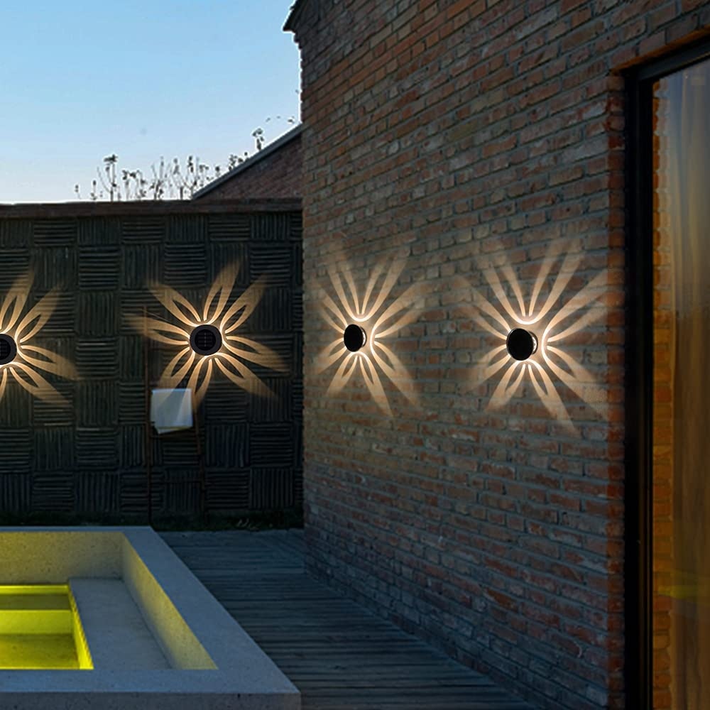 Solar Deck Lights-4 Pack Solar Outdoor Garden Decorative Wall Mount Fence Post Lighting,IP44 Waterproof Solar Powered for Garden Patio Yard