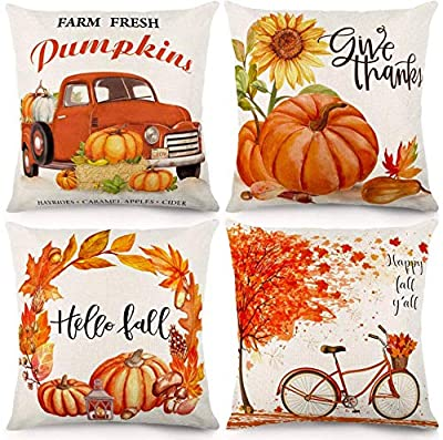 CDWERD Fall Pillow Covers 18x18 Inches Fall Decorations Thanksgiving Autumn Theme Farmhouse Decorative Throw Pillowcase Cotton Linen Cushion Case for Home Decor Set of 4