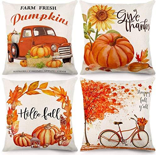 CDWERD Fall Pillow Covers 18x18 Inches Fall Decorations Thanksgiving Autumn Theme Farmhouse Decorative Throw Pillowcase Cotton Linen Cushion Case for Home Decor Set of 4
