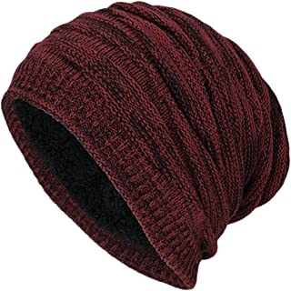 PLOVZ Men's Slouchy Beanie Knit Crochet Cap for Autumn Winter