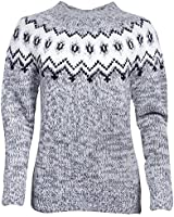 ICEWEAR Hulda 100% Icelandic Wool Hand Knitted Jumper with Crew Neck Light Grey