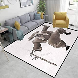 Kabuki Mask Home Decor Area Rug Oriental Style Artist with Make Up and Costume Pose Dance Ancient Artwork Dining Room Home Bedroom W71 x L82 Umber White