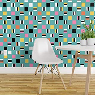 Spoonflower Pre-Pasted Removable Wallpaper, Licorice Liquorice Liquoriceallsorts Allsorts Candy Trendy1950s Aqua Print, Water-Activated Wallpaper, 24in x 108in Roll