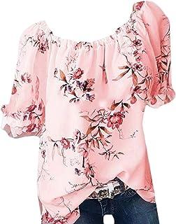 OTW Womens Short Sleeve T-Shirt Plus Size Cotton Summer Flower Print T-Shirt Top Blouse