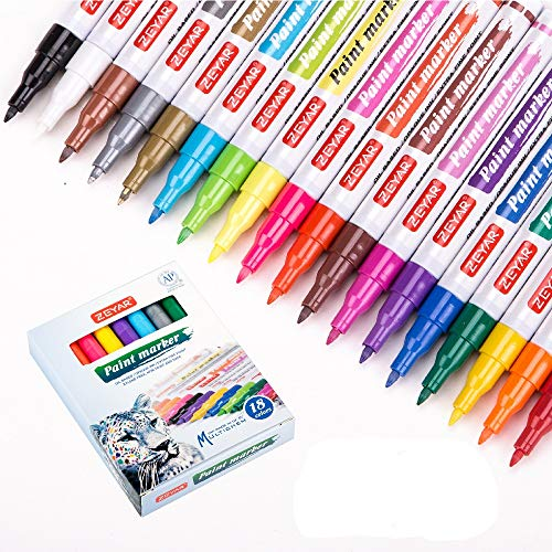 ZEYAR Paint Pens, Expert of Rock Painting, Extra Fine Point, 48 Colors, AP Certified. Permanent Ink & Waterproof, Works on Rock, Wood, Glass, Metal, Ceramic and more (18 Colors)