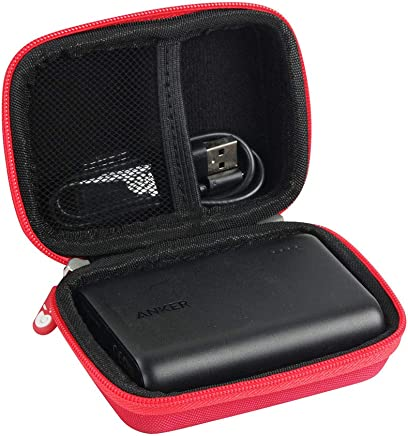 Hermitshell Hard EVA Travel Case Fits Anker PowerCore 10000 One of The Smallest and Lightest 10000mAh External Batteries Ultra-Compact Power Bank (AK-A1263011) (Red)