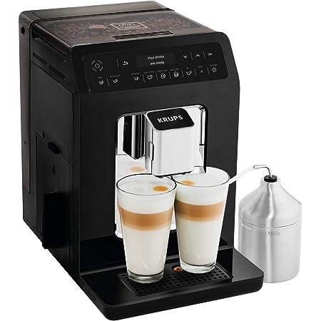 Krups Evidence Machine à café à grain, Machine à café, Broyeur à grain, Cafetière expresso, Cappuccino, Espresso, 15 boissons, 2 tasses simultanées, Pot à lait EA891810
