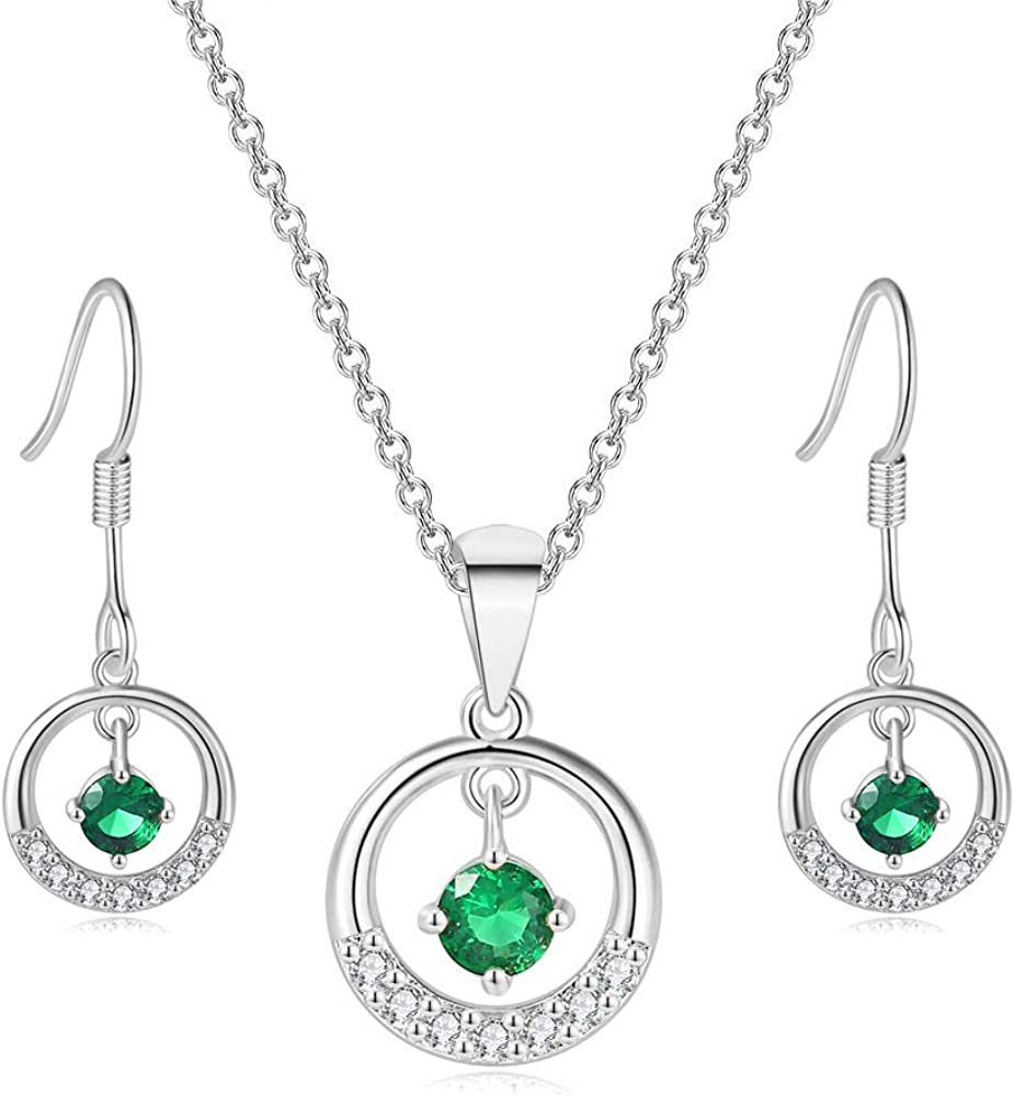TENGTENGFIT Cubic Zirconia Halo Pendant Gold Plated Necklace & Earrings,Green Simulated Emerald Prom Fashion Jewelry Sets