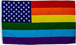 Trade Winds 3X5 USA Rainbow Flag Gay Lesbian New Glory LGBT Transgender Nylon Poly Banner Fade Resistant Premium