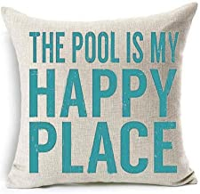 Bnitoam The Pool is My Happy Place Cotton Linen Throw Pillow Covers Case Cushion Cover Sofa Decorative Square 18 x 18 inch (1)