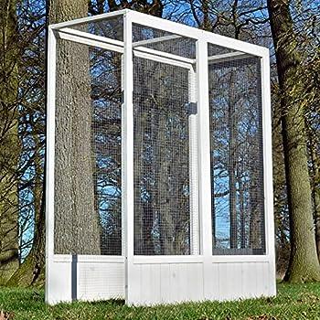 Voliere Cage a Oiseaux en Bois de Haute Qualite 52 x 114 x 136 cm Extension Modele Luise 310