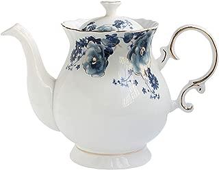 Jomop European Style Ceramic Flower Teapot Coffee Pot Water Pot Porcelain Gift Petal Large 5.5 Cups (1, Blue and White)