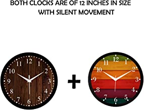 Efinito 12 Inch Wall Clock for Home/Living Room/Office/Bedroom/Kids Room Pack of 2