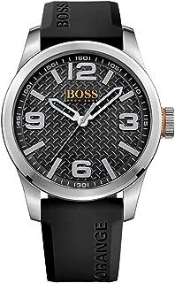 BOSS Orange Men's Stainless Steel Quartz Watch with Leather Calfskin Strap, Black, 24 (Model: 1513350)