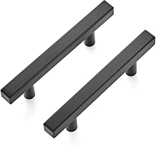 """Ravinte 10 Pack 5 inch Square Cabinet Pulls Matte Black Stainless Steel Kitchen Drawer Pulls Cabinet Handles 5""""Length, 3"""" ..."""