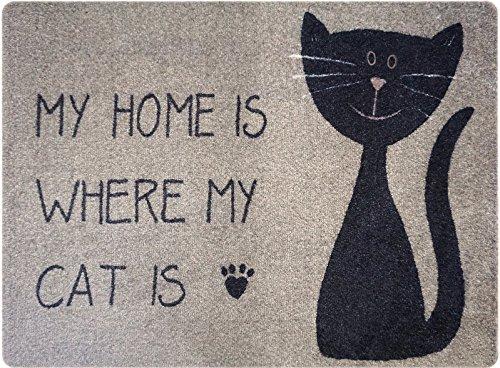 Designer Fussmatte Katze für Haustür, Flur, Innen und Aussen | Fussmatten rutschfest und waschbar...