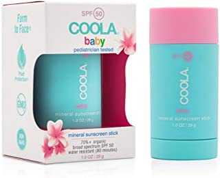 COOLA Organic Baby Mineral Sunscreen Stick | Unscented | Broad Spectrum SPF 50 | Water-Resistant | For Babies 6 Months and Older | Sensitive Formula | Farm to Face Sourced | 1 Fl Ounces