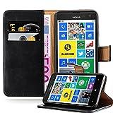 Cadorabo Hülle für Nokia Lumia 625 - Hülle in Graphit SCHWARZ – Handyhülle im Luxury Design mit Kartenfach & Standfunktion - Hülle Cover Schutzhülle Etui Tasche Book