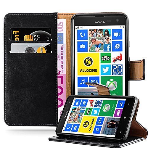 Cadorabo Hülle für Nokia Lumia 625 in Graphit SCHWARZ – Handyhülle mit Magnetverschluss, Standfunktion & Kartenfach – Hülle Cover Schutzhülle Etui Tasche Book Klapp Style