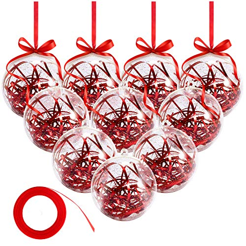 Bearbro Clear Ornaments Balls,20pcs Clear Christmas Decorations Balls,5678cmDIY Plastic Fill-able Christmas Decorations Tree Balls Gifts for New Years Wedding Party Decor