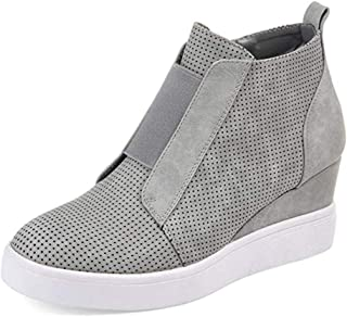 58239dd663e1 Youngdemo Women s Wedge Shoes High Top Sports Shoes Casual Zipper Sneakers