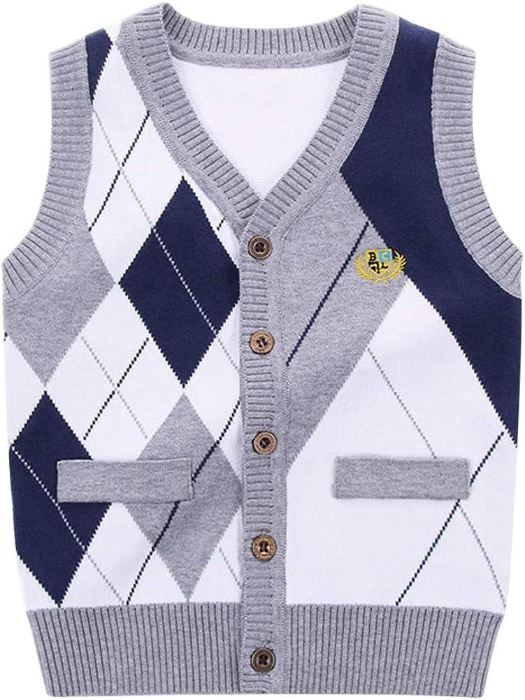 Toddler Boys School Uniform V Neck Cardigans Sweater Vest Block Plaid Grey/Navy