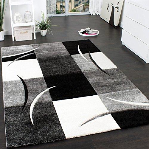 Paco Home Designer Teppich mit Konturenschnitt Muster Kariert in Schwarz Weiss Grau, Grösse:80x150 cm