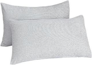 LIFEREVO 2 Pack Pillow Shams Microfiber Farmhouse Stripe Pillowcases Wrinkle, Fade, Stain Resistant, Envelope Closure End (Standard, Gray)