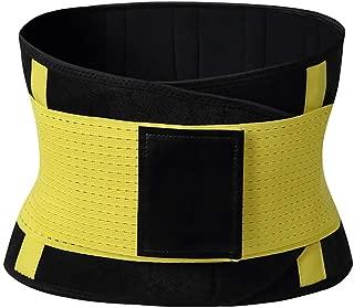 Waist Trainer Belt Postpartum Belly Wrap Weight Loss Workout Fitness Slimmer Trimmer Body Shaper Sport Girdle Belt(Yellow,L)