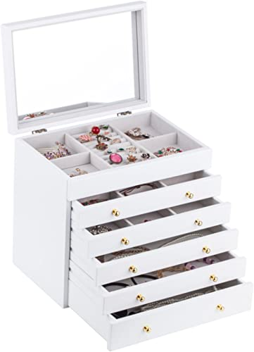 Brown White Large Wooden Jewellery Box Earring Bracelets Organizer 5 Drawers Mirror Box MG008