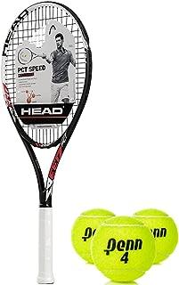 HEAD PCT Speed Oversized/Extended 16x19 NanoTitanium Black/Red/White Tennis Racquet Kit or Set Bundled with (1) Can of 3 Penn Tennis Balls