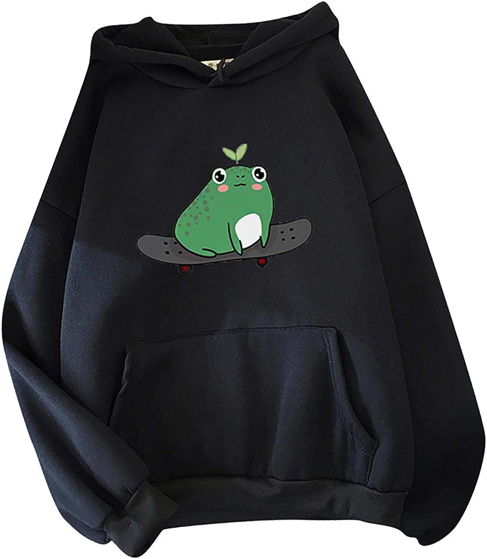 TAYBAGH Cute Hoodie for Women,Womens Girl Cute Frog Print Long Sleeve Hoodie Sweatshirt Pullover Blouse Tops with Pocket