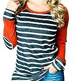 ALLTB Women Striped Printed Baseball Shirt Tee Raglan Elbow Patchwork Long Sleeve Casual Tunic Tops Size M (Orange)