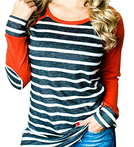 ALLTB Women Striped Printed Baseball T-Shirt (65% Off)
