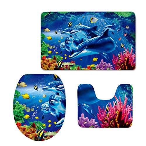 HUGSIDEA Dolphin Coral Printed Bath Rug Set Super Soft Bathroom Rugs Contour Mat with Toilet Lid Cover (3 Piece)