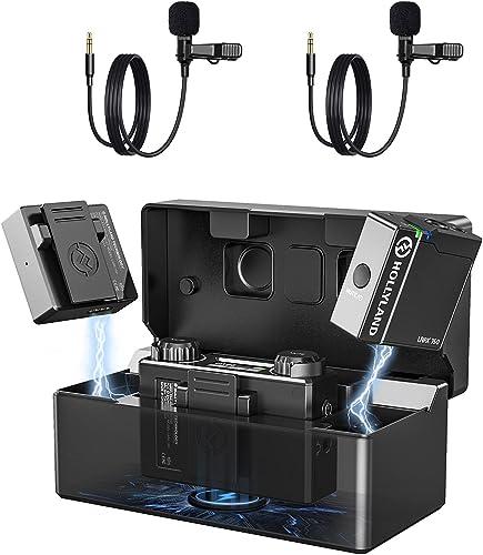 Micro cravate Sans Fil Lark 150 Hollyland [officiel] Double Danal 2.4GHZ avec Boîtier de Charge 2 & 20g Transmetteurs...