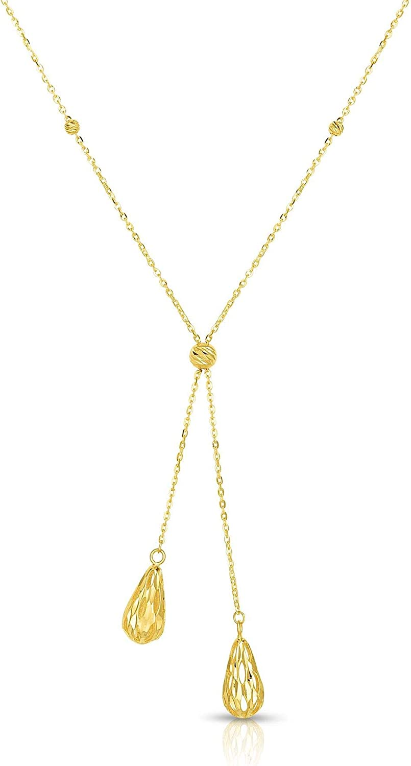 14K Yellow Gold Diamond Cut Lariat Necklace, 17 in.