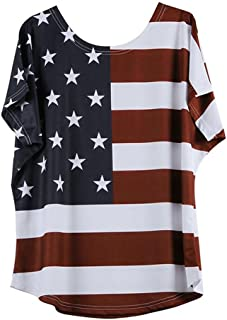 ZOMUSAR Women Fashion Plus Size Loose Star Stripe American Flag Printed O-Neck T-Shirt Blouse