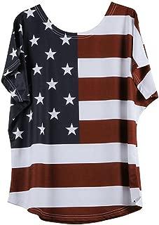 Women Plus Size T-Shirt Short Sleeve Stripe Star Color Block American Flag Casual Tank Blouse Tops
