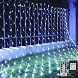 Ollny Led Net Lights 200 LED 9.8ft x 6.6ft mesh Lights with Remote Timer Christmas net Lights connectable Tree wrap Fairy Light net Plug in Hanging Lights for Wedding Background Bushes Outdoor Indoor