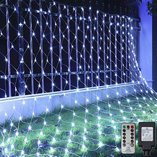 Ollny Net Christmas Lights 200 LED 9.8ft x 6.6ft Cool White, Outdoor Fariy String Mesh Light Plug in, Waterproof Hanging Decorative Lighting for Bushes Christmas Tree Wrap Holiday Halloween Background