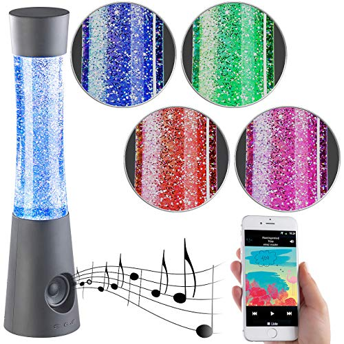 Lunartec Glitter-Lavalampe: Tornado-Lampe mit Lautsprecher, RGB-LEDs, Glitzer, Bluetooth & AUX-In (Deko-Tischlampe)