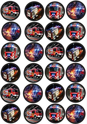 24 Muffin & Cupcake Aufleger Fondant Feuerwehr AMA 2