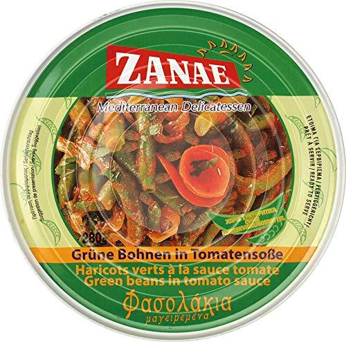 ZANAE Grüne Bohnen in Tomatensauce, 4er Pack (4 x 280 g)