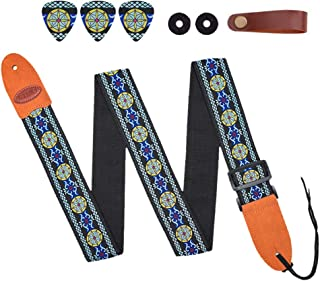 Qielizi Adjustable Guitar Strap,Vintage Tweed Includes Strap Button, 2 Strap Locks, 3 Guitar Picks For Electric Guitar, Acoustic Guitar and Bass - Unique Gift For Guitarist(Flower3)