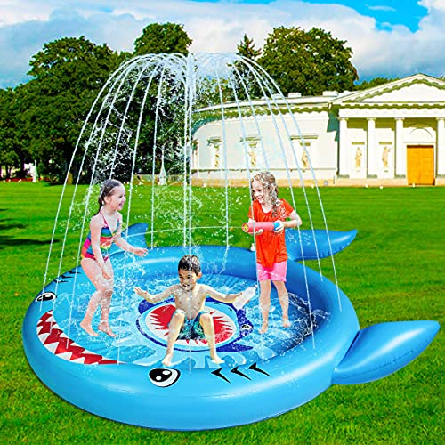 HUA JIE PVC Piscina Infantil, Piscina Hinchable Infantil Tiburón con Chorro de Agua Piscina Niños para Balcón, Jardín, Ducha, Terraza