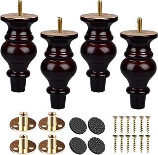 Btowin - Patas para muebles de madera maciza 4 piezas de patas de moño de madera torneada con roscas de 5/16 pulgadas pl...