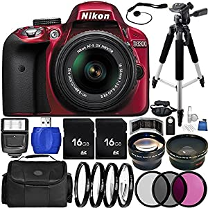 Nikon D3300 DSLR Camera (Red) Bundle