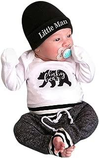 Mixte/B/éb/é V/êtements Ensemble,Honestyi Lettre Imprimer T-Shirt Manches Longues Barboteuses Rayure Pantalon Longues Chapeau en Coton Combinaison Enfants Tenues 3 Pcs Set pour 6-24 Mois