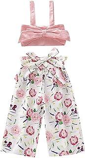 LXXIASHI Toddler Kids Baby Girl Off Shoulder T-Shirt Vest Top + Long Fruit Pants Outfit Clothes Set